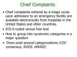 chief complaints
