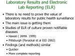 laboratory results and electronic lab reporting elr