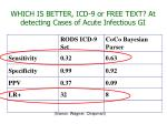 which is better icd 9 or free text at detecting cases of acute infectious gi