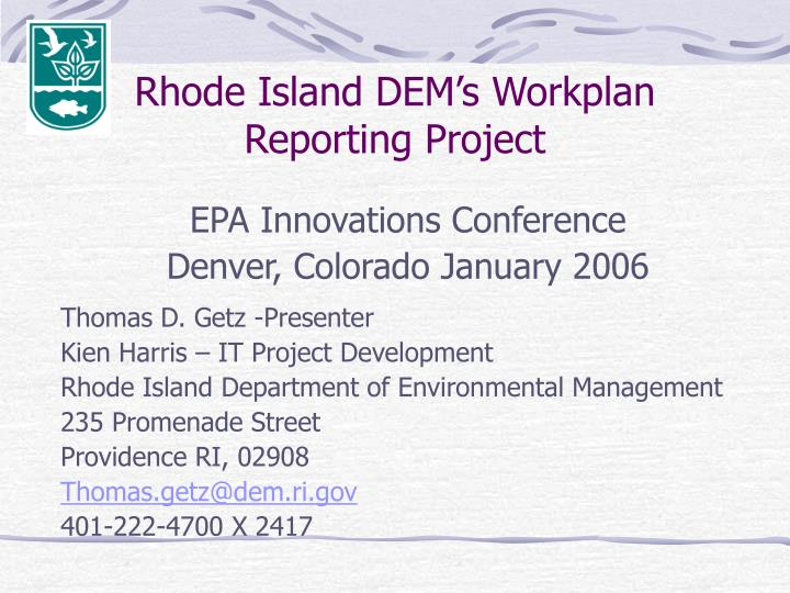 rhode island dem s workplan reporting project n.
