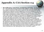 appendix a caa section 114