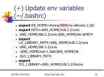update env variables bashrc