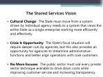 the shared services vision