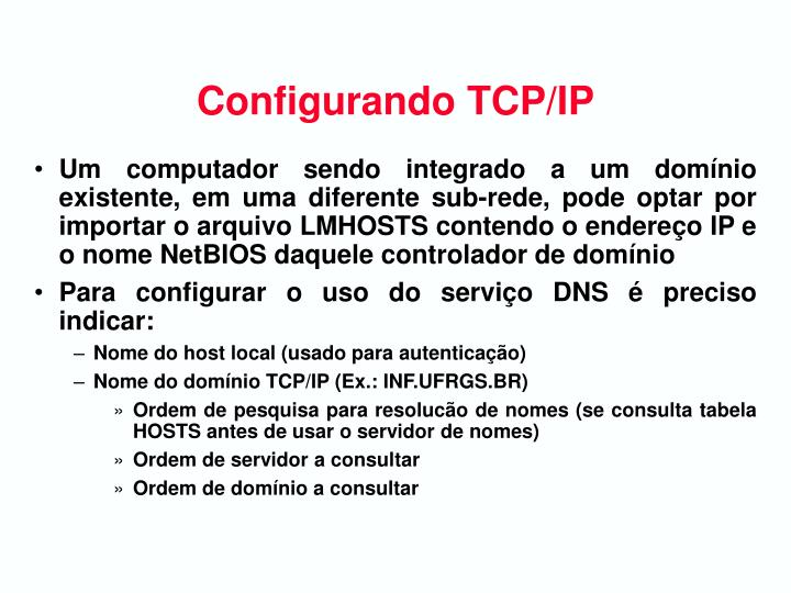 Configurando TCP/IP