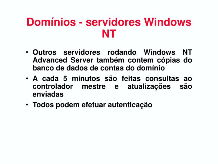 Domínios - servidores Windows NT