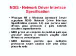 ndis network driver interface specification