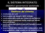 il sistema integrato obiettivi governance sezionale