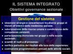 il sistema integrato obiettivi governance sezionale1