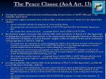 the peace clause aoa art 13