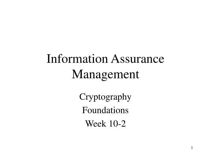 information assurance management n.