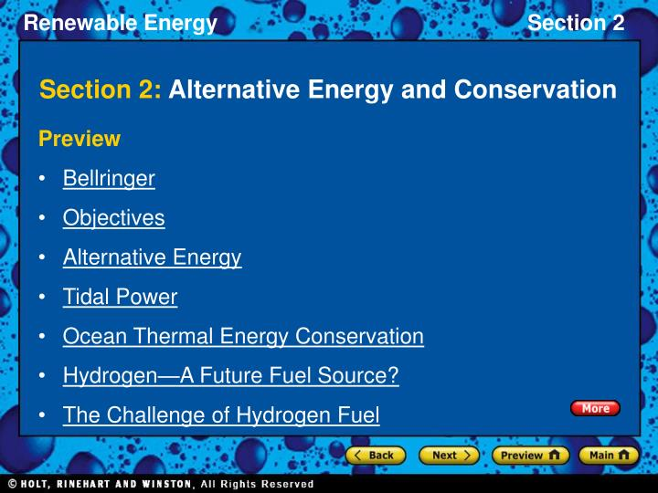 section 2 alternative energy and conservation