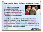 how does the dignity act relate to codes of conduct