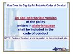 how does the dignity act relate to codes of conduct1