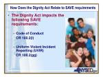 how does the dignity act relate to save requirements