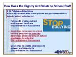 how does the dignity act relate to school staff