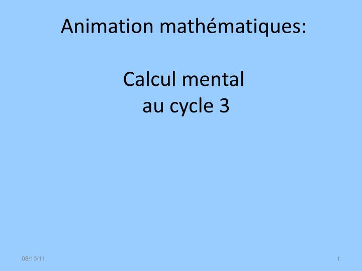 animation math matiques calcul mental au cycle 3 n.