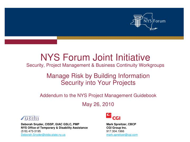 nys forum joint initiative security project management business continuity workgroups n.