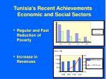 tunisia s recent achievements economic and social sectors