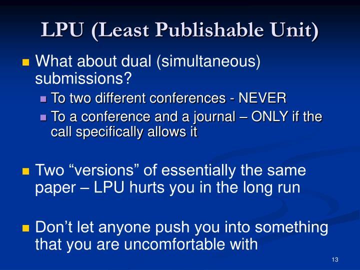 LPU (Least Publishable Unit)