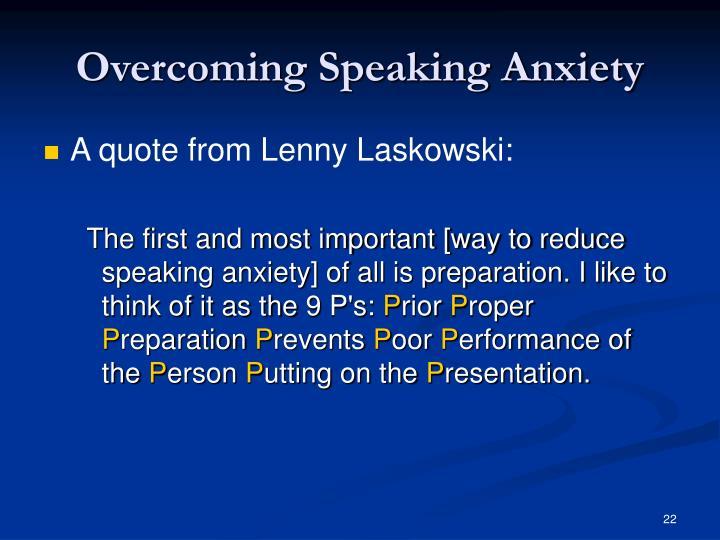 Overcoming Speaking Anxiety