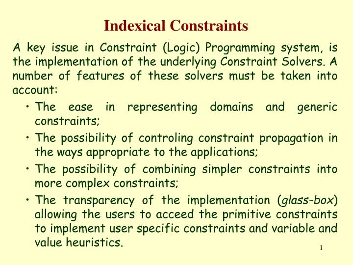 indexical constraints n.