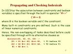 propagating and checking indexicals