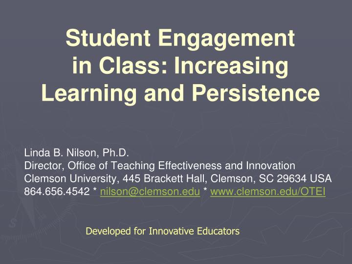 student engagement in class increasing learning and persistence n.