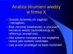 analiza strumieni wiedzy w firmie x