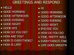 greetings and respond