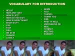 vocabulary for introduction