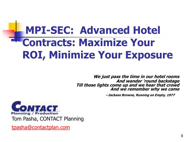 mpi sec advanced hotel contracts maximize your roi minimize your exposure n.