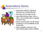 reservations items