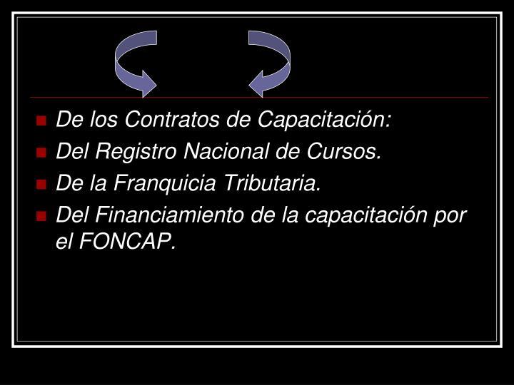 De los Contratos de Capacitación: