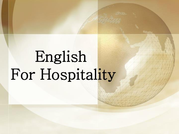 english for hospitality n.