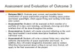 assessment and evaluation of outcome 3