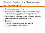 things to consider for classroom and lab management
