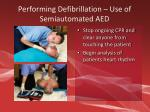 performing defibrillation use of semiautomated aed1