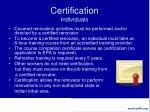 certification individuals