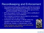 recordkeeping and enforcement