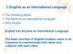 1 english as an international language