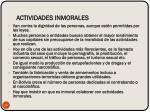 actividades inmorales