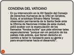 condena del vaticano