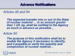 advance notifications