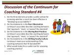 discussion of the continuum for coaching standard 4