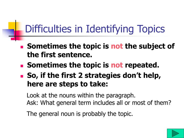 Difficulties in Identifying Topics