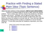 practice with finding a stated main idea topic sentence