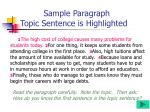 sample paragraph topic sentence is highlighted