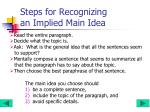 steps for recognizing an implied main idea