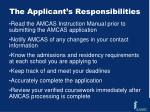 the applicant s responsibilities