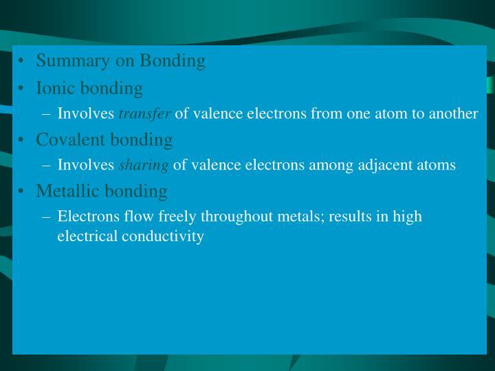 Summary on Bonding